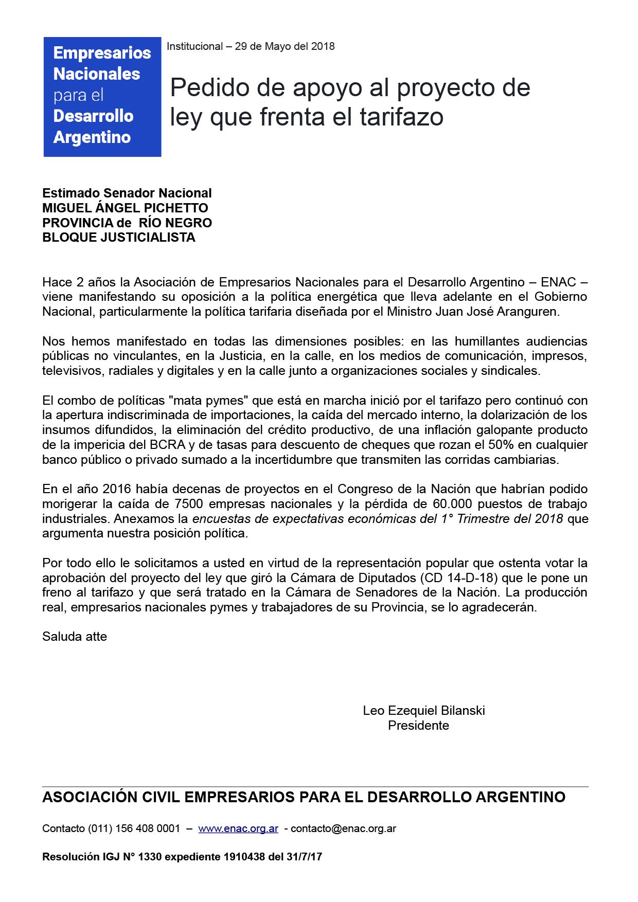 20180529 - Senadores ENAC tarifazo pichetto